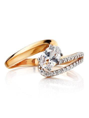 Очаровательное золотое кольцо с цирконами, Размер кольца: 17, фото , изображение 3