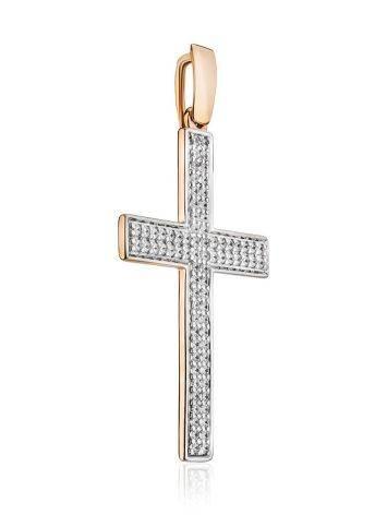 Золотой кулон в форме креста с фианитами, фото , изображение 3