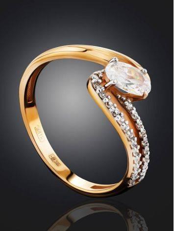 Очаровательное золотое кольцо с цирконами, Размер кольца: 17, фото , изображение 2