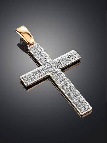 Золотой кулон в форме креста с фианитами, фото , изображение 2