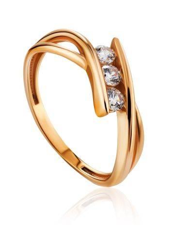 Необычное золотое кольцо с тремя цирконами, Размер кольца: 16.5, фото