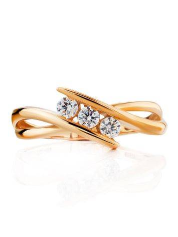 Необычное золотое кольцо с тремя цирконами, Размер кольца: 16.5, фото , изображение 3