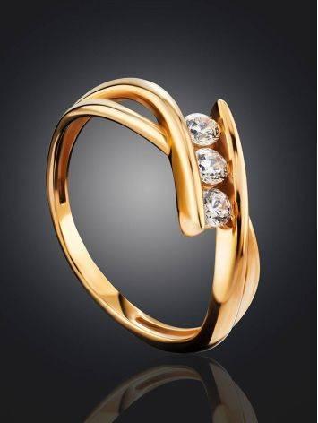 Необычное золотое кольцо с тремя цирконами, Размер кольца: 16.5, фото , изображение 2