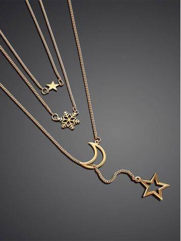 Многослойное золотое колье с миниатюрными звездами и полумесяцем, фото , изображение 2