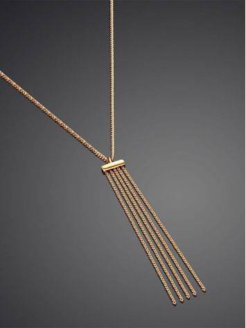 Утонченное золотое колье с подвеской из цепочек, фото , изображение 2