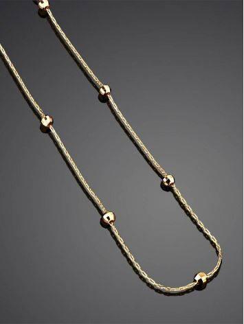 Тонкое колье-цепочка с миниатюрными золотыми шариками, фото , изображение 2