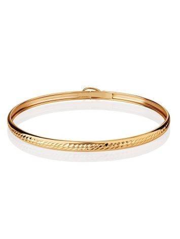 Лаконичный золотой браслет-обруч, фото , изображение 3