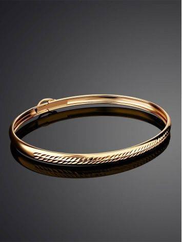 Лаконичный золотой браслет-обруч, фото , изображение 2