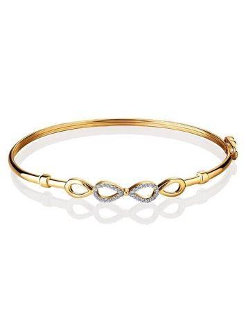 Жесткий золотой браслет с символом бесконечности, фото , изображение 3