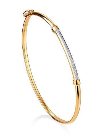 Стильный браслет-обруч с цирконами, фото