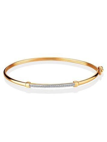 Стильный браслет-обруч с цирконами, фото , изображение 3