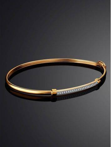 Стильный браслет-обруч с цирконами, фото , изображение 2