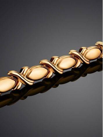Элегантный золотой браслет из звеньев необычной формы, фото , изображение 2