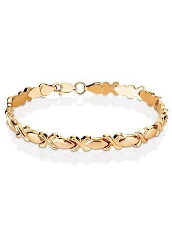 Элегантный золотой браслет из звеньев необычной формы, фото