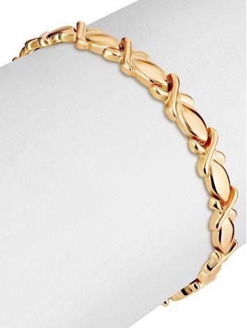 Элегантный золотой браслет из звеньев необычной формы, фото , изображение 3