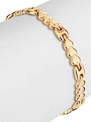 Эффектный золотой браслет из звеньев-сердечек, фото , изображение 3