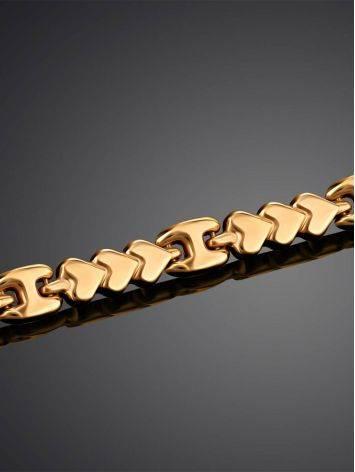 Эффектный золотой браслет из звеньев-сердечек, фото , изображение 2