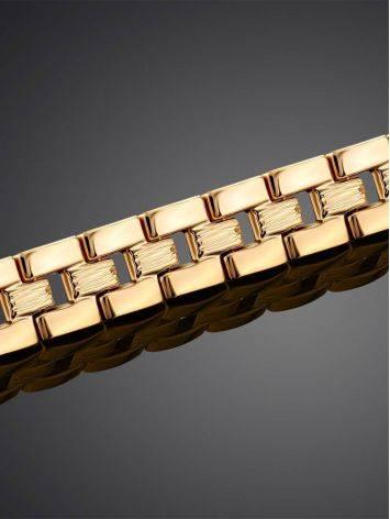 Шикарный золотой браслет из широких геометричных звеньев, фото , изображение 2