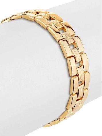 Шикарный золотой браслет из широких геометричных звеньев, фото , изображение 3