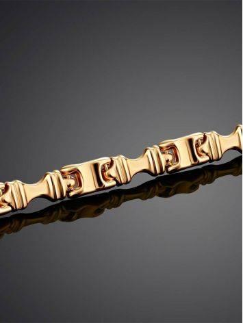 Стильный браслет из широких золотых звеньев, фото , изображение 2