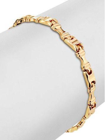 Стильный браслет из широких золотых звеньев, фото , изображение 3