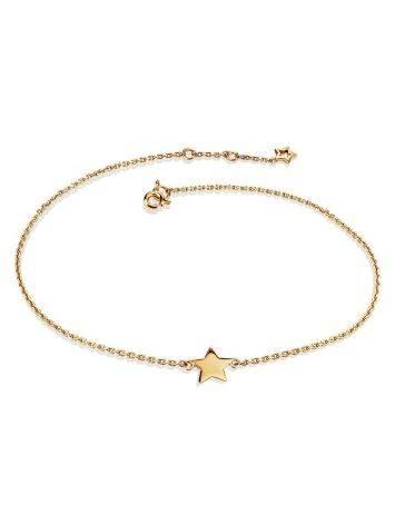 Тонкий золотой браслет со звездой, фото
