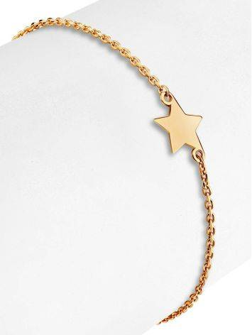 Тонкий золотой браслет со звездой, фото , изображение 3