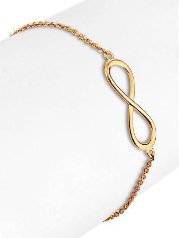 Изысканный золотой браслет с символом бесконечности, фото , изображение 3