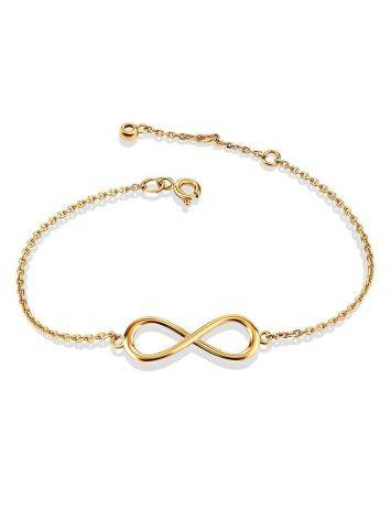 Изысканный золотой браслет с символом бесконечности, фото