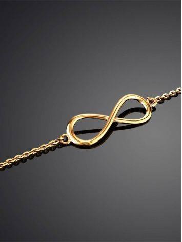 Изысканный золотой браслет с символом бесконечности, фото , изображение 2
