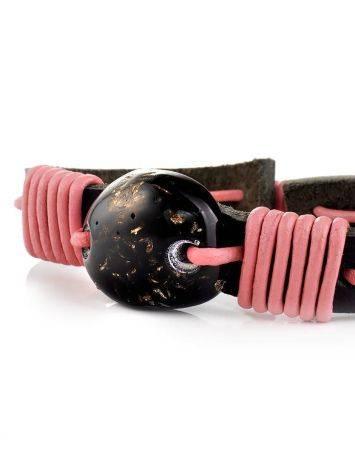 Браслет из чёрной кожи, перевитый розовым шнуром и украшенный янтарём «Копакабана», фото , изображение 4