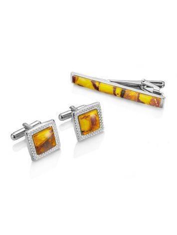 Набор: квадратные запонки и зажим для галстука с медовым янтарем, фото