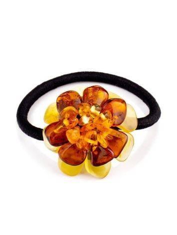 Резинка для волос, украшенная цветком из натурального балтийского янтаря, фото
