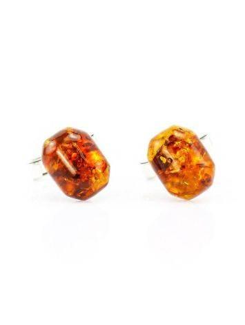 Серебряные запонки с натуральным янтарем «Коньячные кнопки прямоугольные», фото