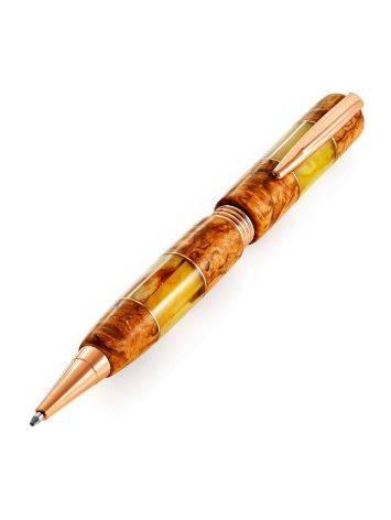 Шариковая ручка «Стрим» из сувели карельской березы и натурального янтаря, фото