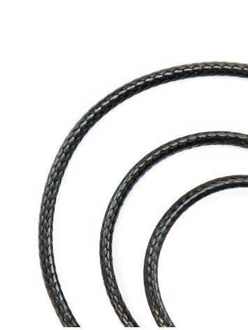 Черный текстильный плетеный шнурок для подвесок на застежке-карабине, фото
