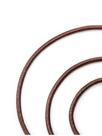 Кожаный коричневый шнурок на застежке-карабине, фото