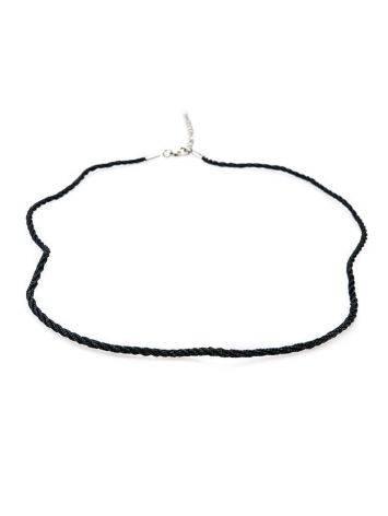 Шёлковый плетёный шнурок чёрного цвета для подвесок, фото