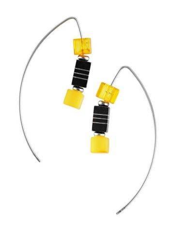 Оригинальные серьги-крючки «Рафинад» с натуральным янтарём, фото