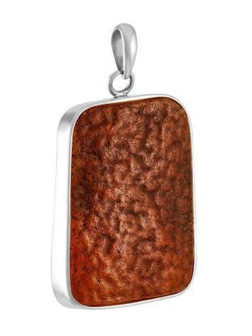 Яркая оригинальная подвеска «Неолит» из натурального янтаря в серебре, фото
