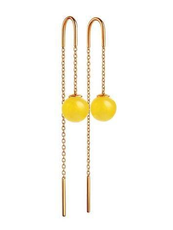 Оригинальные продевные серьги из позолоченного серебра и медового янтаря «Юпитер», фото