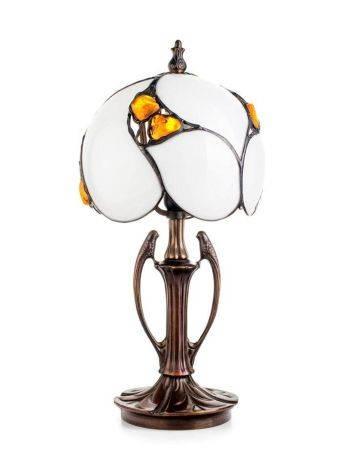 Изящная лампа «Райские птицы» с вставками натурального цельного янтаря, фото