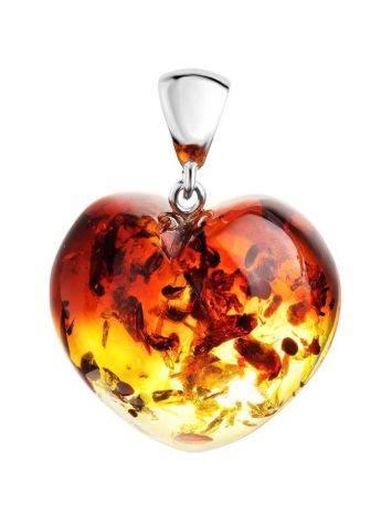 Очаровательная подвеска-сердце из натурального янтаря с искрами, фото