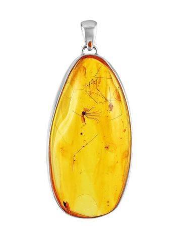 Удлинённая подвеска из натурального янтаря с инклюзом комарика, фото