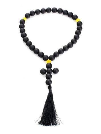 Чётки на 33 бусины-шара из чёрного янтаря из коллекции «Куба», фото