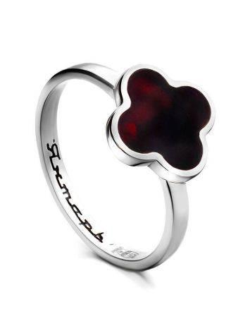 Изящное кольцо «Монако» Янтарь®  из серебра и натурального вишнёвого янтаря, Размер кольца: 16, фото