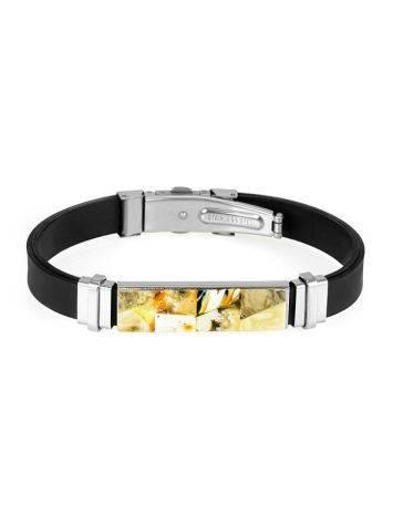 Стильный каучуковый браслет для мужчин «Сильверстоун» с янтарной мозаикой, фото