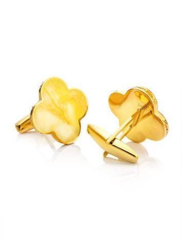 Яркие стильные и оригинальные запонки с медовым янтарём «Монако» Янтарь®, фото