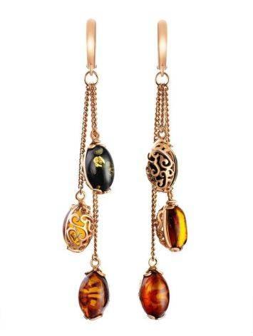 Удлинённые ажурные серьги из золоченного серебра и янтаря «Касабланка», фото