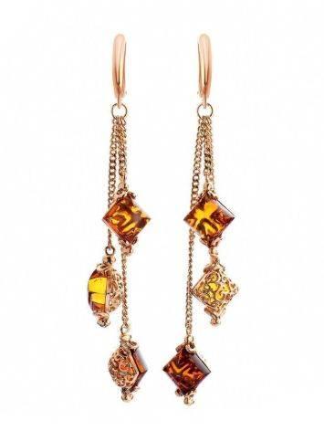 Эффектные и изысканные серьги «Касабланка» с янтарём коньячного цвета, фото